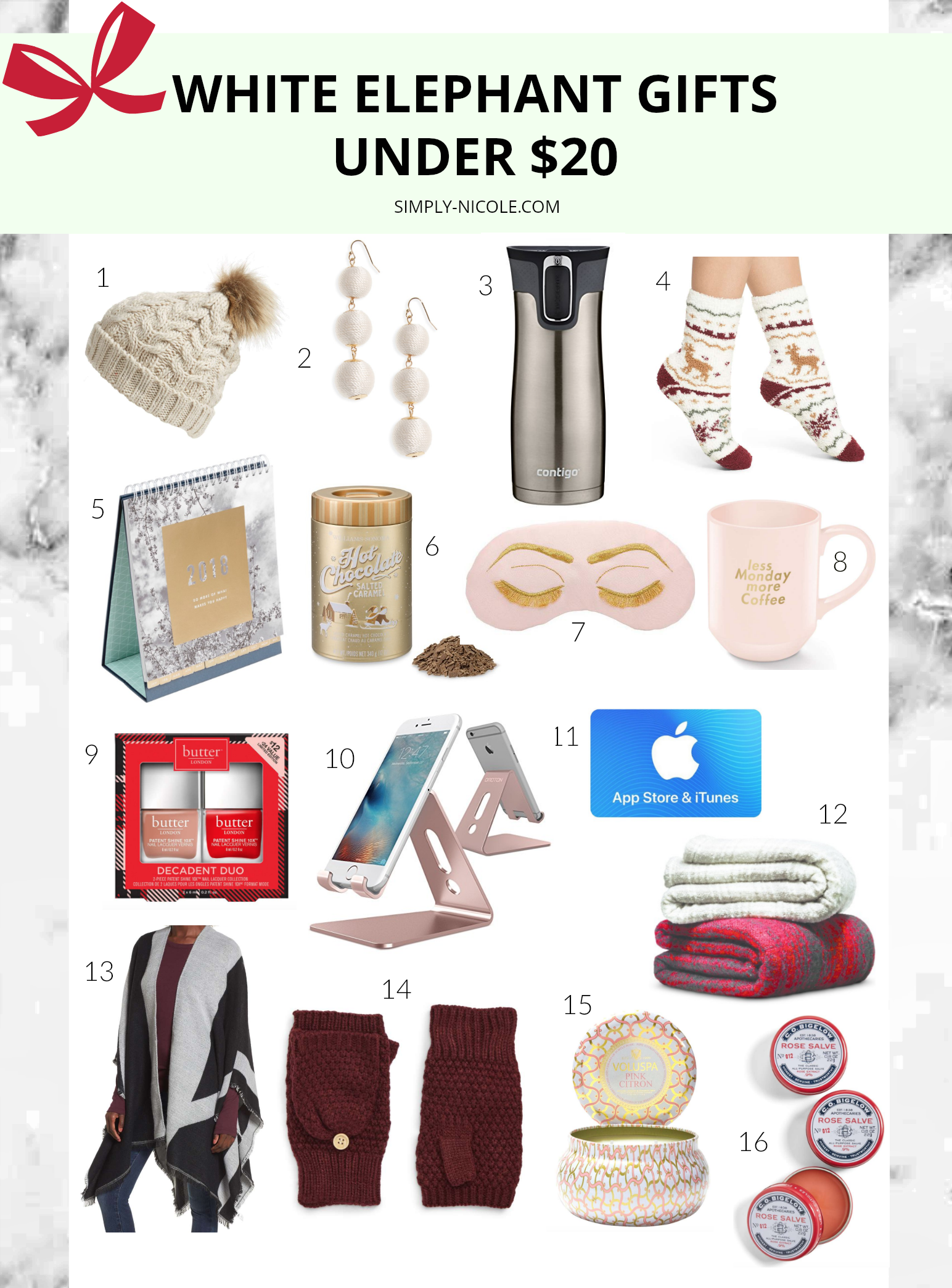 White Elephant Gifts Under $20   Simply Nicole